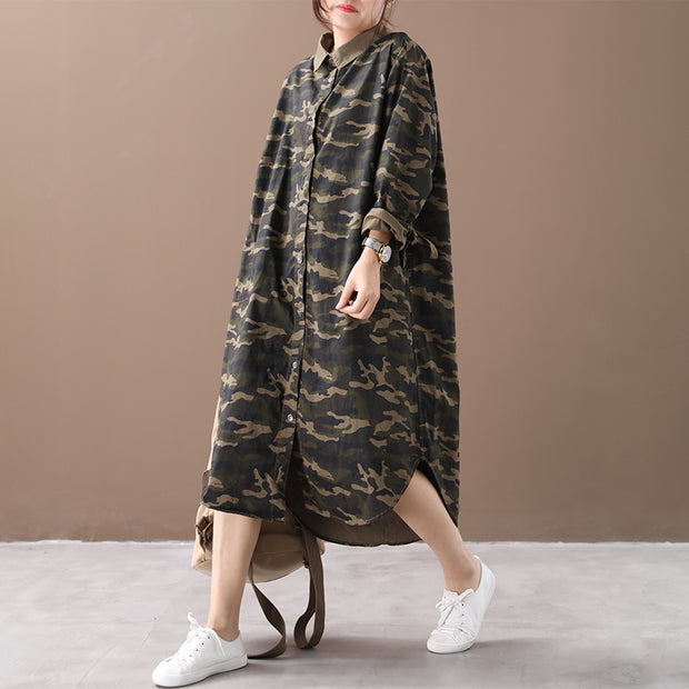 Retro Camouflage Polo Collar Loose Shirt Dress