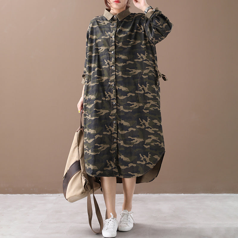 Plus Size - Camouflage Polo Collar Cotton Shirt Dress