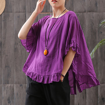 Retro Casual Cotton Butterfly Sleeve Blouse
