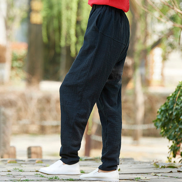 Retro Casual Cotton Linen Elastic Waist Loose Pants