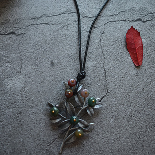 Retro Casual Plant Brooch Long Necklace