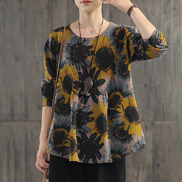 Retro Casual Sunflower Printed Thin Blouse