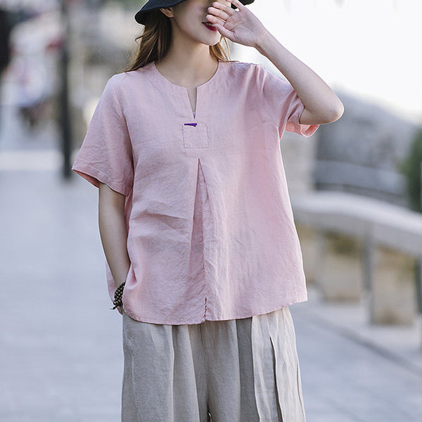 Retro Casual V-Neck Cotton Linen Blouse