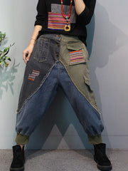 Retro Color Matching Colored Patchwork Harem Jeans
