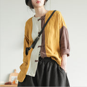Retro Color Matching Spliced Long Sleeve Shirt