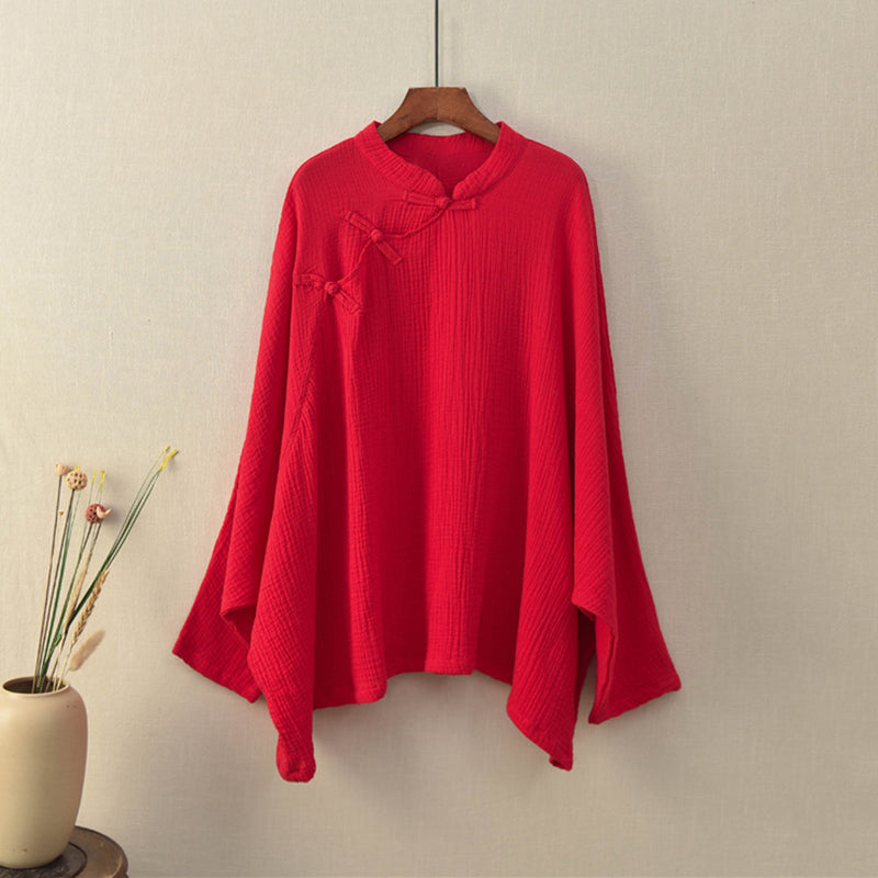 Retro Comfortable Loose Bat Sleeve Shirt