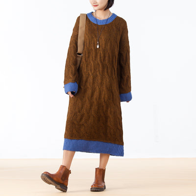 Retro Contrast Color O-neck Sweater Dress