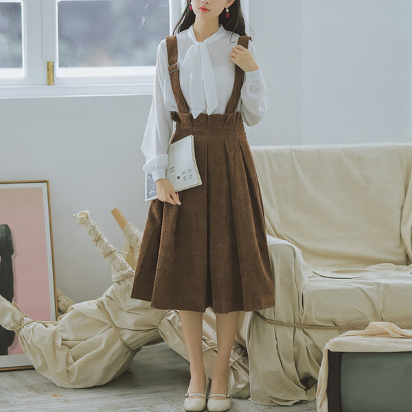 Retro Corduroy Solid Elegant High Waist Strap Dress