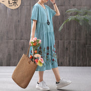 Retro Cotton Linen Embroidery Short Sleeve Dress