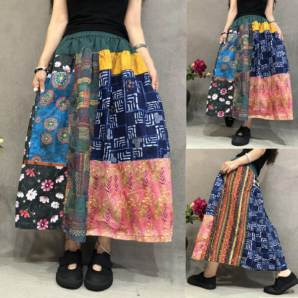 Retro Cotton Linen Irregular Spliced Skirt