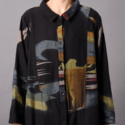 Retro Cotton Long Cardigan Printed Long Coat