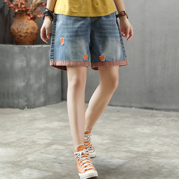 Retro Elastic Waist Color Matching Hole Shorts