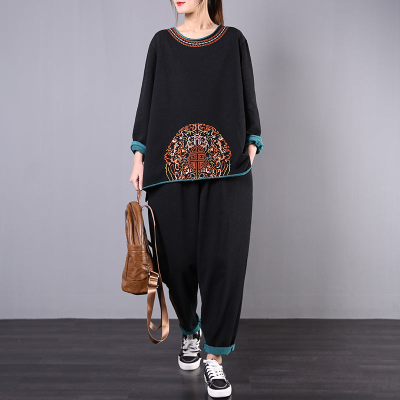 Retro Embroidery Cozy Two Piece Suit