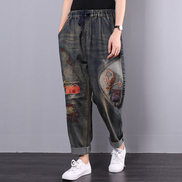 Retro Embroidery Patchwork Women Jeans Plus Size