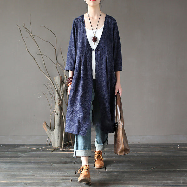 Retro Ethnic Jacquard Chinese Frog Button Trench Coat