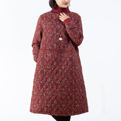 Retro Floral Long Sleeve Chinese Style Dress