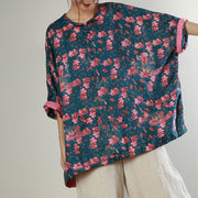 Retro Floral Printed Loose Comfortable Blouse