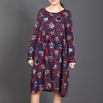 Retro Floral Printed Soft Comfortable Dress