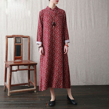 Retro Floral Stand Collar A-line Dress