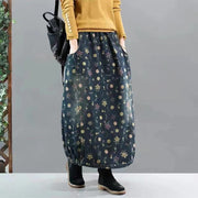 Retro Floral Thickened Thermal Skirt