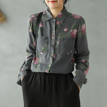 Retro Floral Turn-down Collar Shirt