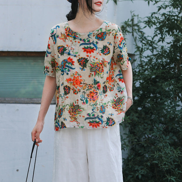 Retro Flower Oblique Opening Loose T-Shirt