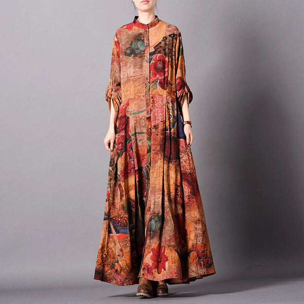 Retro Flower Print Long Loose Coat