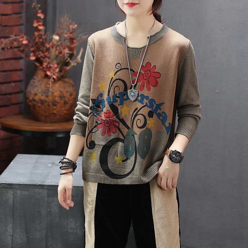 Retro Flower Printed Loose Knitting Shirt