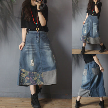 Retro Frayed Splicing Skirt
