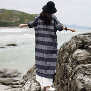 Retro Horizontal Stripe Round Collar Dress