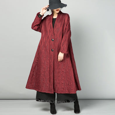 Retro Jacquard Two Buttons Long Coat