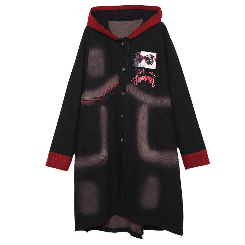 Retro Letter Patchwork Sequins Hooded Trench Coat