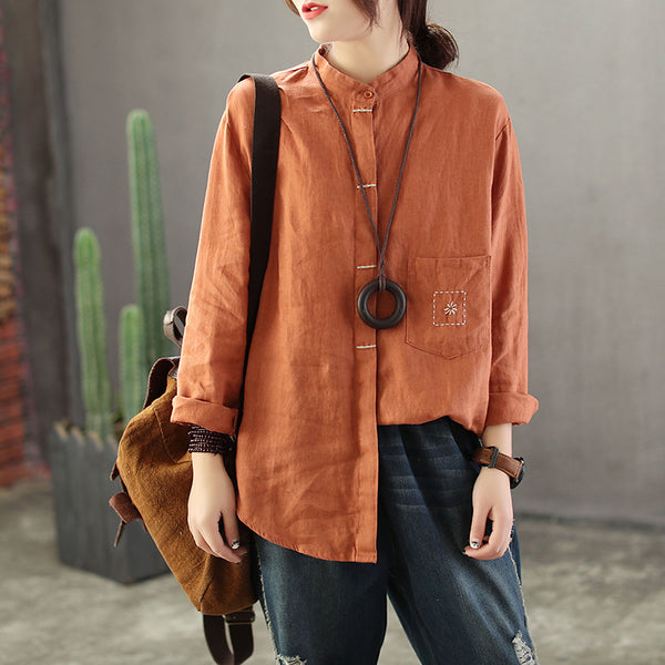 Retro Linen Button Down Blouse Women