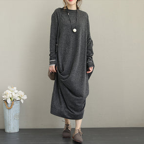 Retro Long Sleeve Irregular Female Dress