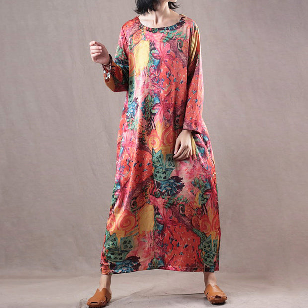 Retro Long Sleeve Loose Print Orange Dress