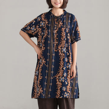 Retro Navy Blue Women Ethnic Cotton Top