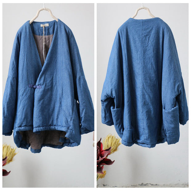Retro New Linen Chinese Style Blue Coat