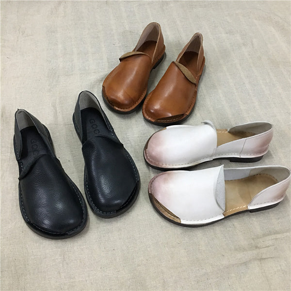 Retro Open Toe Flat Single Shoes