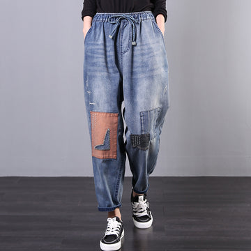 Retro Patchwork Drawstring Jeans
