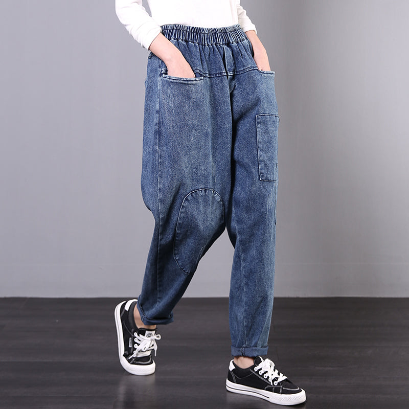 Retro Patchwork Frayed Loose Jeans