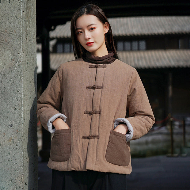 Retro Patchwork Pockets Short Cotton-padded Coat