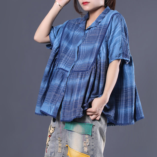 Retro Plaid Pleated Short Sleeve Blouse