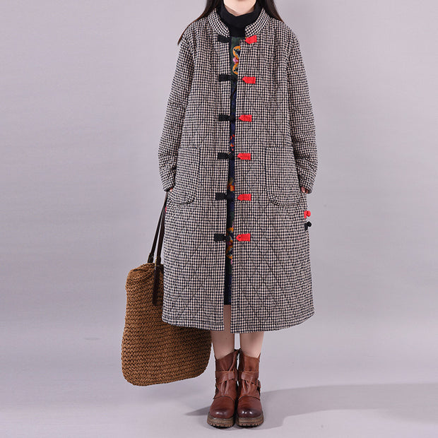 Retro Plaid Winter Warm Cotton-padded Jacket