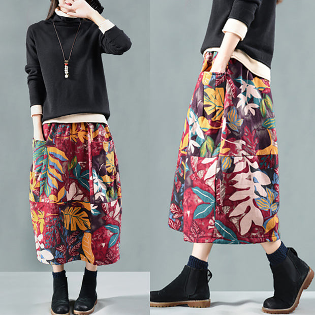 Retro Printed Thick Warm Skirt