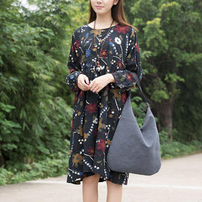 Retro Print Long Sleeve Cotton Pleated Dress
