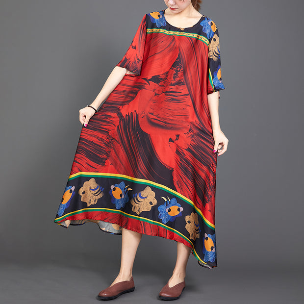 Retro Print Round Neck A-Line Women Dress