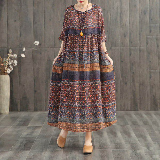 Retro Print Washed Comfortable Loose Dress
