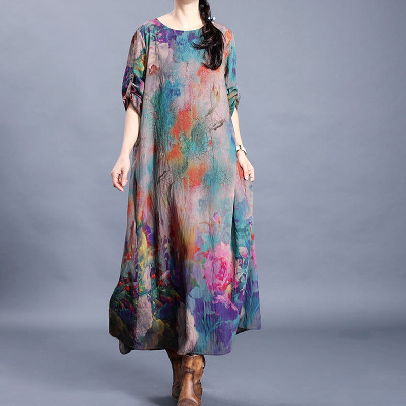 Retro Printed Delicate Folds Loose Dress