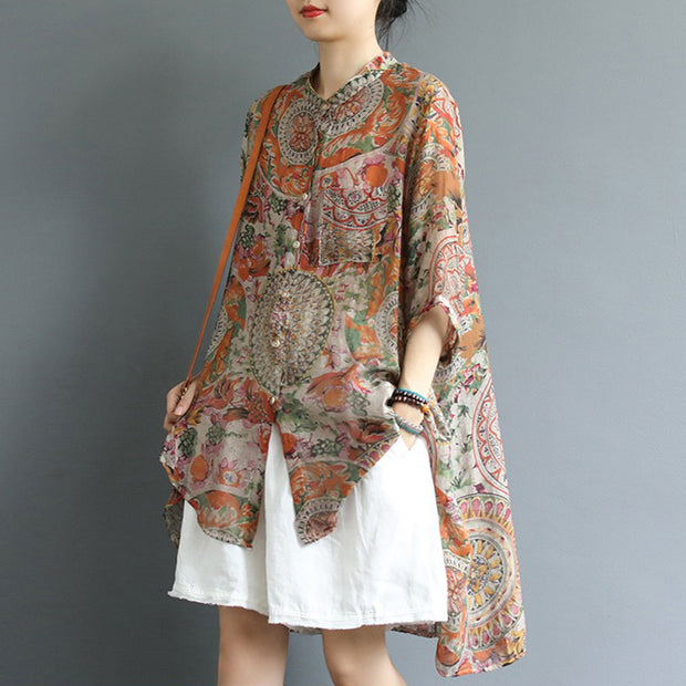 Retro Printed High Low Hem Comfortable Blouse