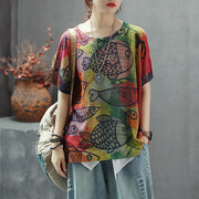 Retro Printed Round Collar Breathable Knitting T-Shirt